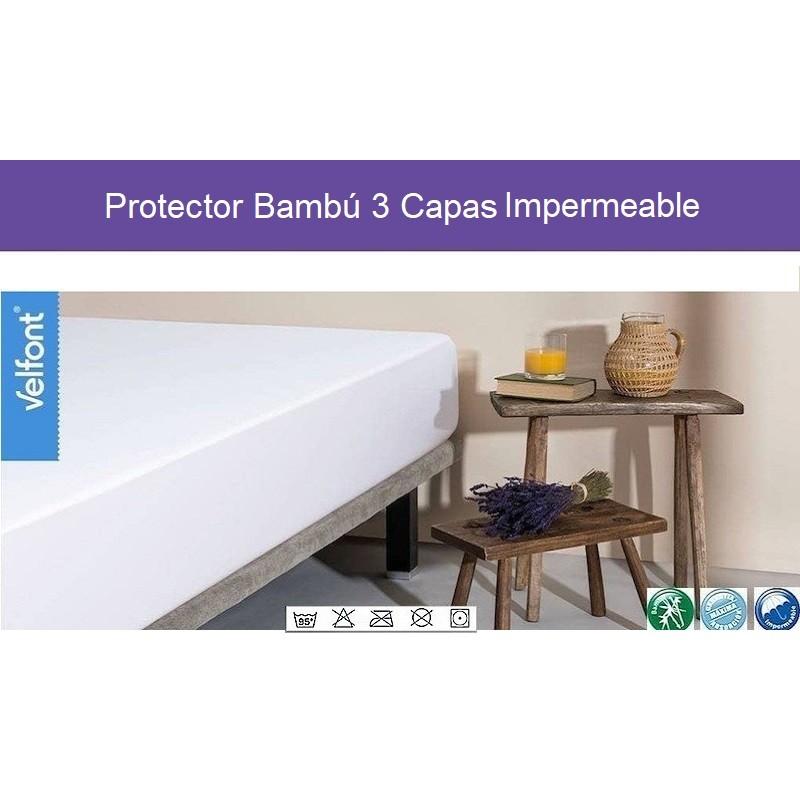 Protector Colchón Bambu 3 Capas Impermeable Velfont